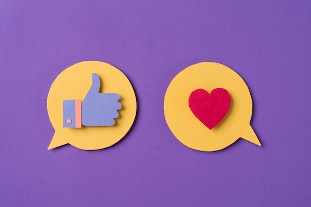 Concetto di social media con pollice in su