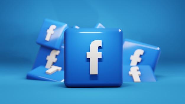 Illustrazione 3d dell'icona di facebook di social media