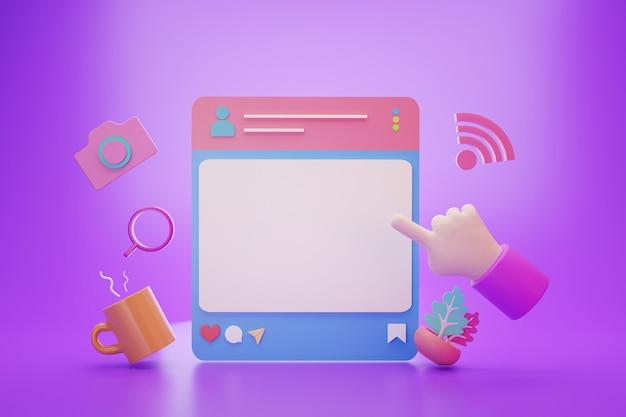 Post di stile di vita dei social media con banca vuota per la pubblicità di testo, rendering 3d
