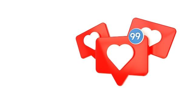 I social media come segno cuore bianco in una spilla a bolle rossa con contatore simile isolato su bianco