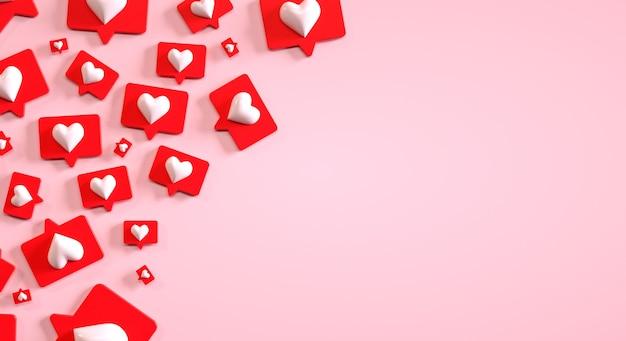 Modello di social media marketing con copyspace e un mucchio di pulsanti simili d render Foto Premium