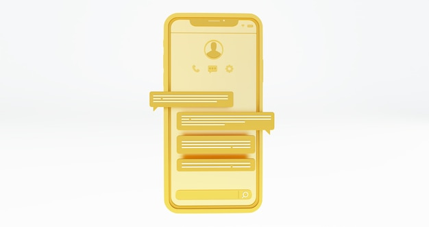 Piattaforma di social media, smartphone d'oro e bolle di chat. rendering 3d