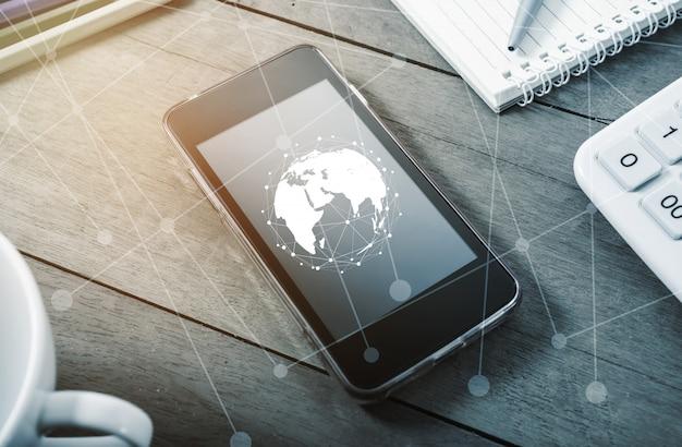 Concetto di connessione di rete e social network