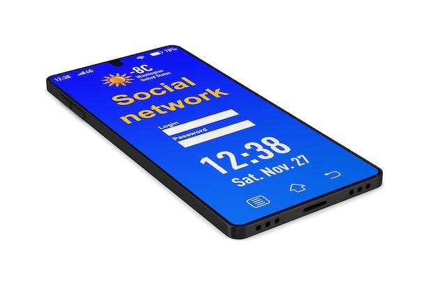 Rete sociale nel telefono su uno spazio bianco. illustrazione 3d isolata