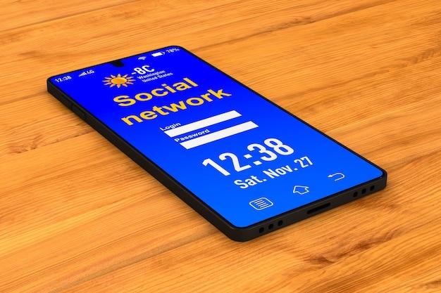 Rete sociale nel telefono su uno spazio di legno. illustrazione 3d