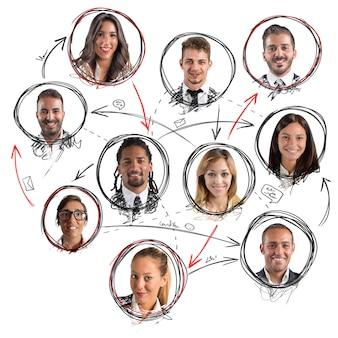 Rete sociale con avatar di persone