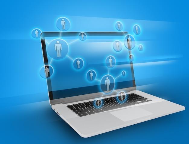 Lavoro di squadra sociale sullo spazio del laptop.
