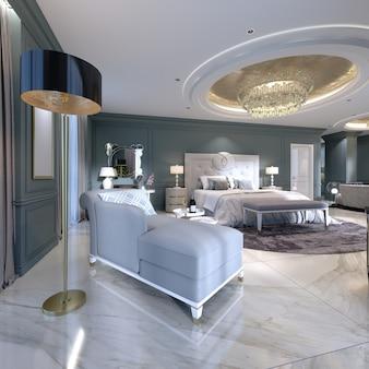 Divano letto con lampada da terra in un moderno monolocale con camera da letto. rendering 3d.