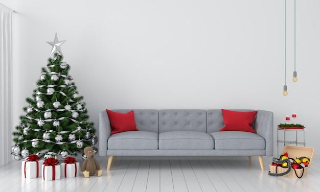Sofà e albero di natale in salotto