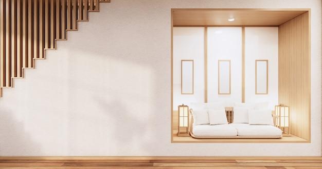 Mobili per divani su mockup camera in legno design minimal.3d rendering