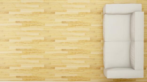 Vista superiore del sofà nella progettazione pulita del salone - rappresentazione 3d