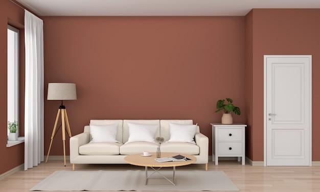Tavola rotonda di legno e del sofà in salone marrone, rappresentazione 3d