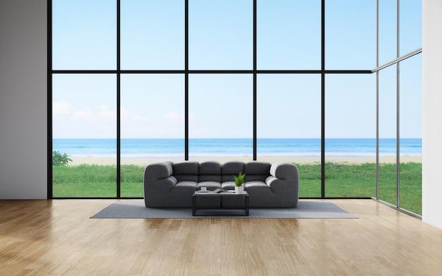 Divano sul pavimento in legno di un soggiorno in una casa moderna con vista cielo e mare