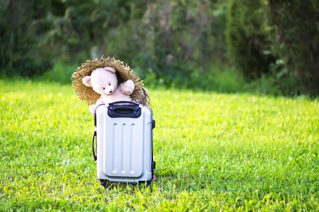 Morbido orsetto giocattolo per bambini sulla borsa da viaggio sul verde prato estivo