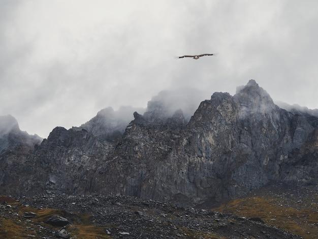 Focalizzazione morbida. ombre di montagna dell'orrore. nebbia drammatica tra montagne rocciose giganti. vista atmosferica spettrale alla grande scogliera. nuvole basse e belle montagne rocciose. luogo misterioso scenario minimalista.