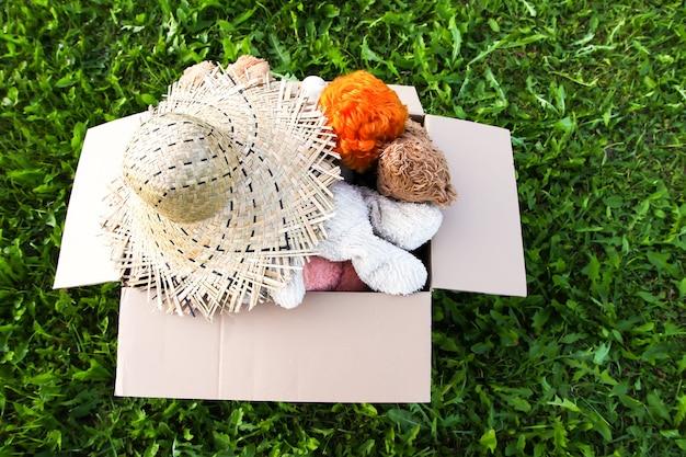 Peluche, bambole e cappello estivo da donare nella scatola di cartone aperta sull'erba verde all'aperto.