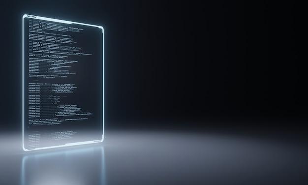 Pannello di codifica sorgente software su pavimento metallico.