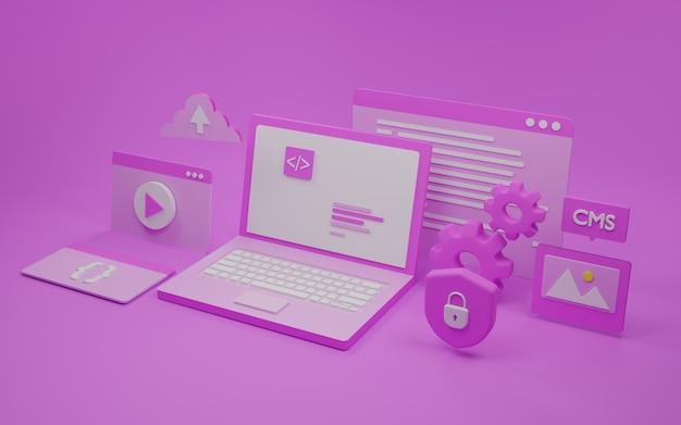 Illustrazione 3d di sviluppo software e web