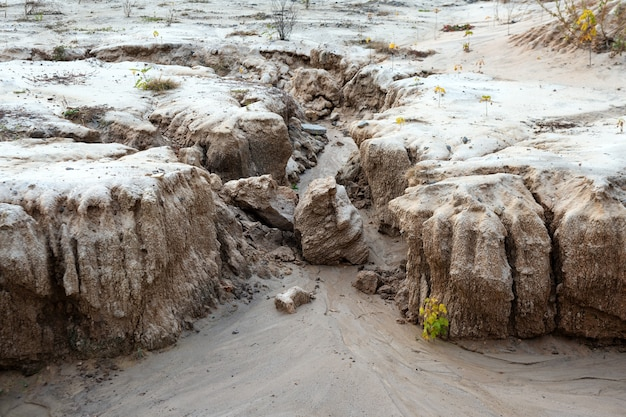 Erosione del suolo, formazione di calanchi in un campo a causa del deflusso delle acque piovane, smottamenti di sabbia, problemi ecologici.
