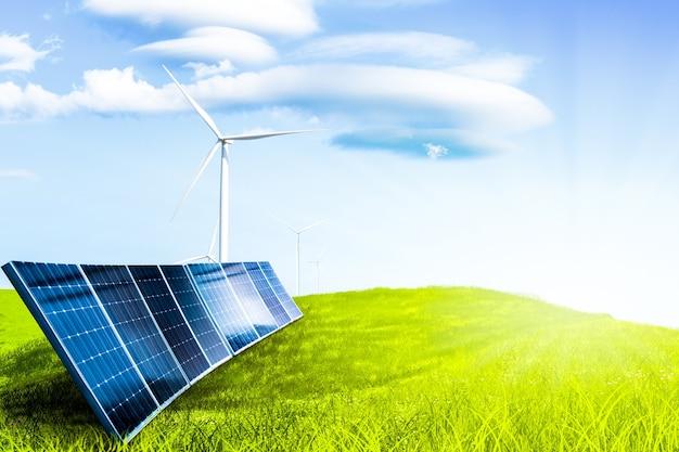 Cella solare su erba di campo e mulino a vento, energia dalla natura, concezione dell'ambiente
