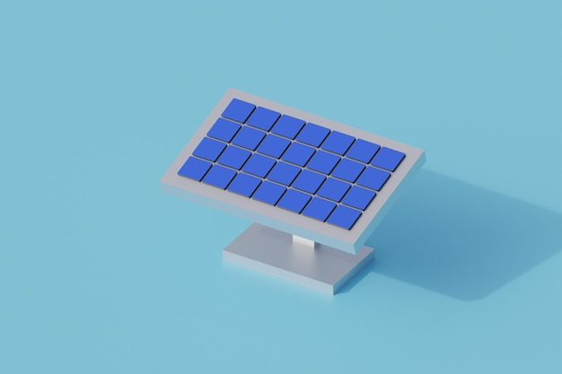 Tecnologia del pannello solare singolo oggetto isolato. 3d render illustrazione isometrica