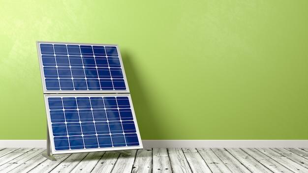 Pannello solare sul pavimento di legno contro il muro