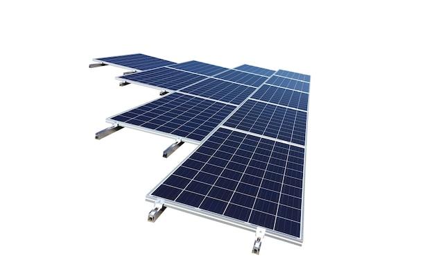 Pannelli solari isolati in bianco per il concetto di energia solare