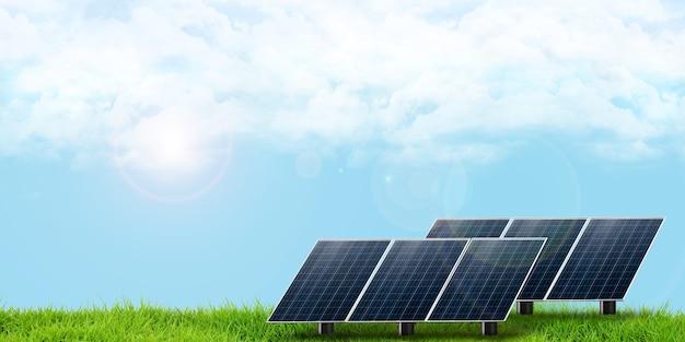 I pannelli solari guardano il cielo per ricevere l'illustrazione 3d della luce solare