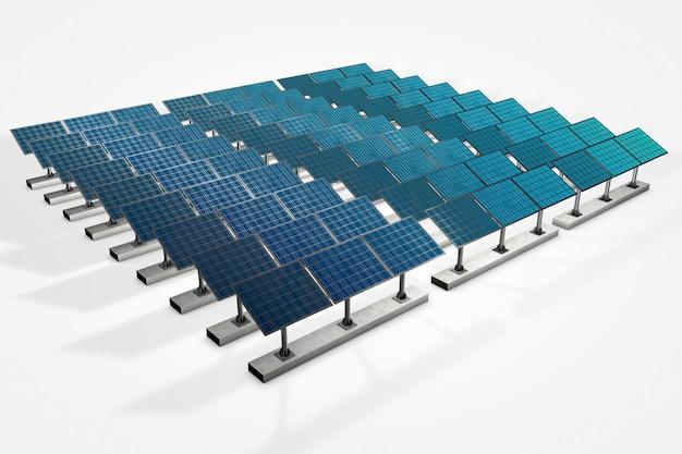Pannelli solari nel cielo al tramonto con turbine di turbine eoliche a energia rinnovabile