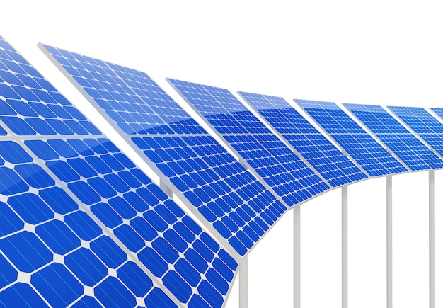 Pannelli solari su sfondo bianco