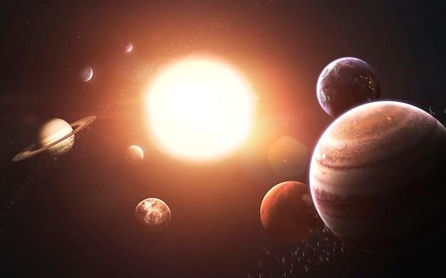 Pianeti del sistema solare, terra, marte, giove e altri. visualizzazione dettagliata impressionante. elementi di questa immagine forniti dalla nasa