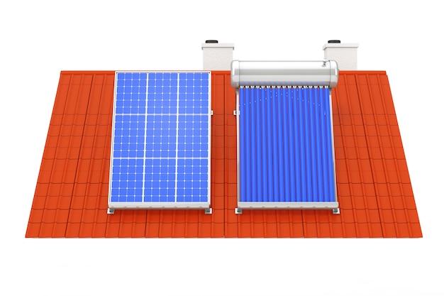 Scaldabagno solare e pannello solare installato su un tetto rosso su sfondo bianco. rendering 3d
