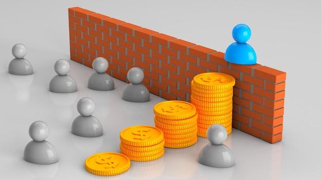 Risolvere i problemi aziendali con il denaro chelevek ha camminato tra le pile di monete aggirando