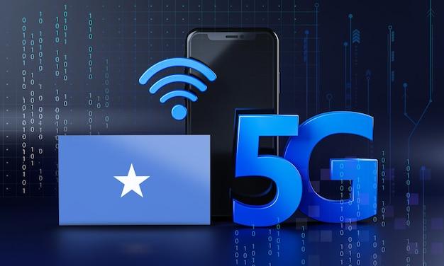 Somalia pronta per il concetto di connessione 5g. sfondo di tecnologia smartphone rendering 3d