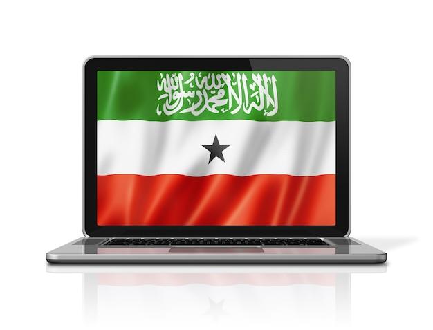 Bandiera del somaliland sullo schermo del computer portatile isolato su bianco. rendering di illustrazione 3d.
