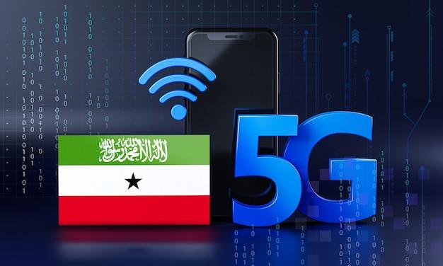Somaliland pronto per il concetto di connessione 5g. sfondo di tecnologia smartphone rendering 3d