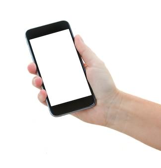 Someones mano che tiene moderno smartphone nero isolato su sfondo bianco
