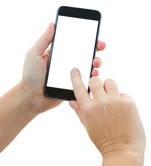 Someones mani che tengono e toccano lo smartphone nero moderno isolato su priorità bassa bianca