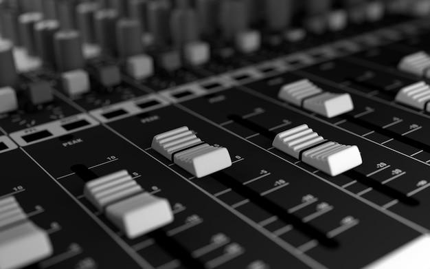 Attrezzatura da studio del suono. rendering 3d