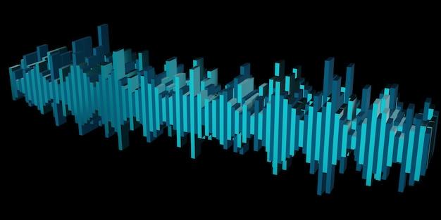 Illustrazione 3d dell'onda sonora del cuore dell'onda