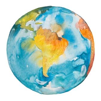 Il sud america nel mondo. pianeta terra. acquerello.