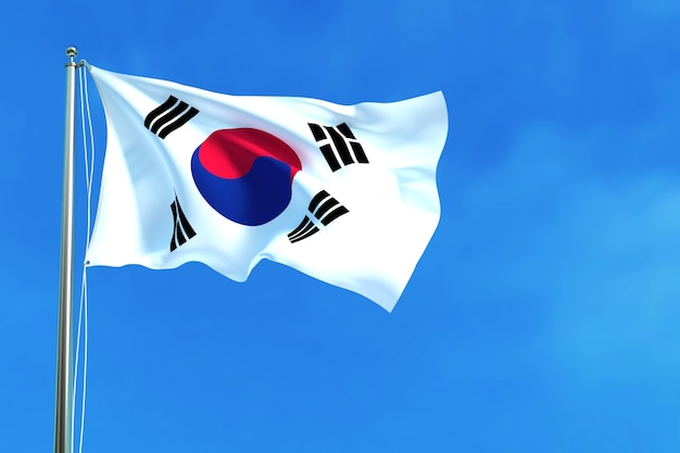 Bandiera della corea del sud sullo sfondo del cielo blu