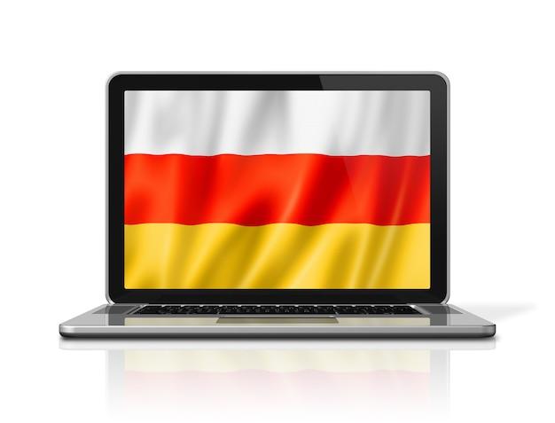 Bandiera dell'ossezia del sud sullo schermo del computer portatile isolato su bianco. rendering di illustrazione 3d.