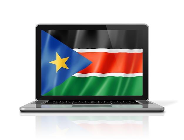 Bandiera del sud sudan sullo schermo del computer portatile isolato su bianco. rendering di illustrazione 3d.