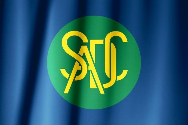 Comunità di sviluppo dell'africa australe o modello di bandiera sadc sulla trama del tessuto