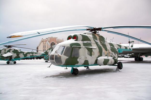 Un elicottero militare sovietico. equipaggiamento militare russo.