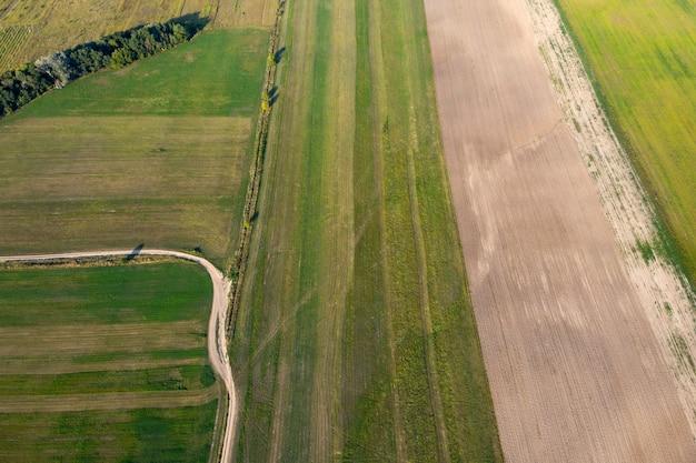 Campo agricolo seminato vista dall'alto ripresa del drone