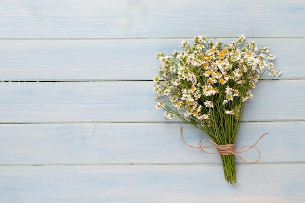 Aromaterapia spa, disposizione piatta di vari prodotti per la cura di bellezza decorati con semplici fiori di camomilla.