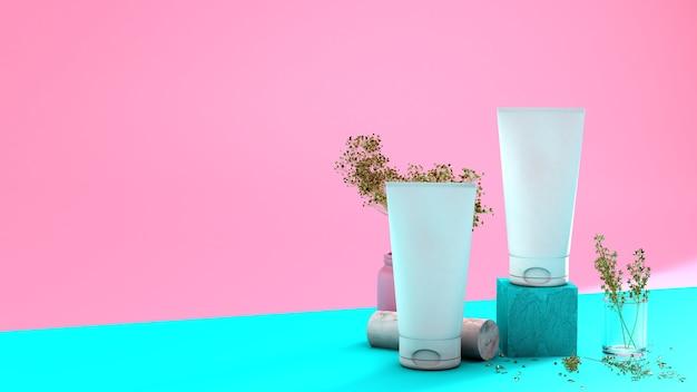 Composizione spa con articoli per la cura del corpo su uno sfondo rosa