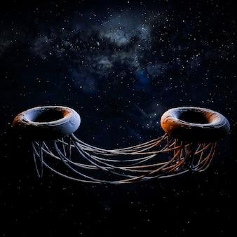 Arte spaziale. futuristico. illustrazione 3d